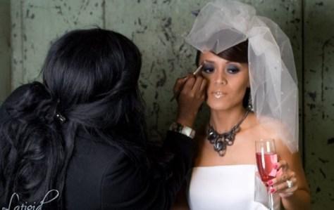 Connecticut Bridal Makeup Artist Brandy Gomez-Duplessis working on bride photo shoot