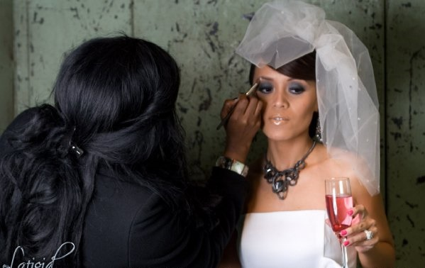 Connecticut Bridal Makeup Artist Brandy Gomez-Duplessis working on bride photo shoot