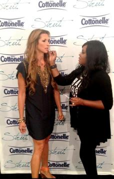 Alysia Reiner getting touched up by Celebrity Makeup Artist Brandy Gomez-Duplessis
