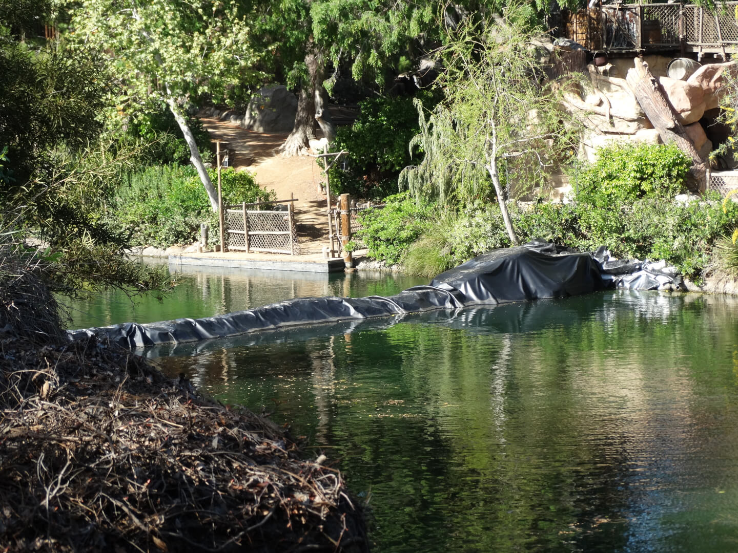 Levees appear on Disneyland's Rivers of America as rerouting construction progresses