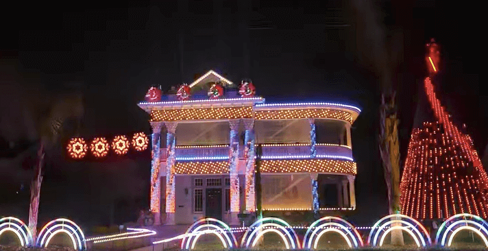 video star wars fan turns his house into a spectacular dark side themed christmas light show