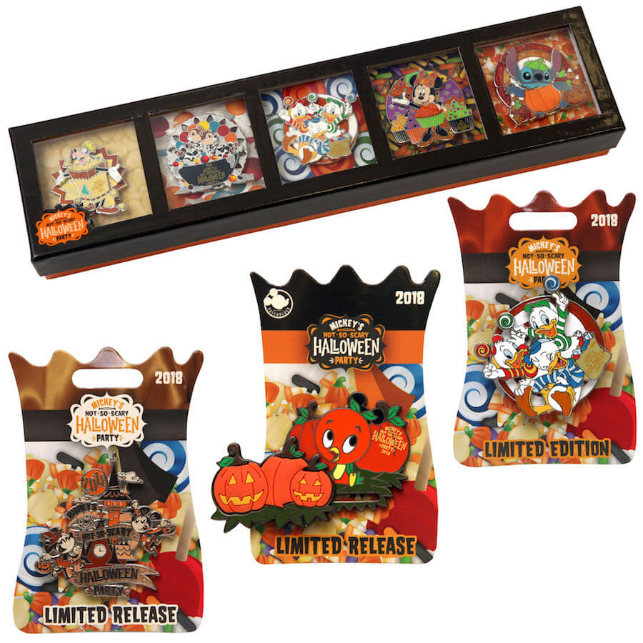 pins featuring huey dewey and louie from ducktales and mickey and minnie other pins feature disney characters snacking on classic halloween treats