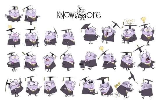 KnowsMore character visual development model sheet