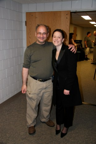 Jessica Phillips posing with clarinet maker, Morrie Backun