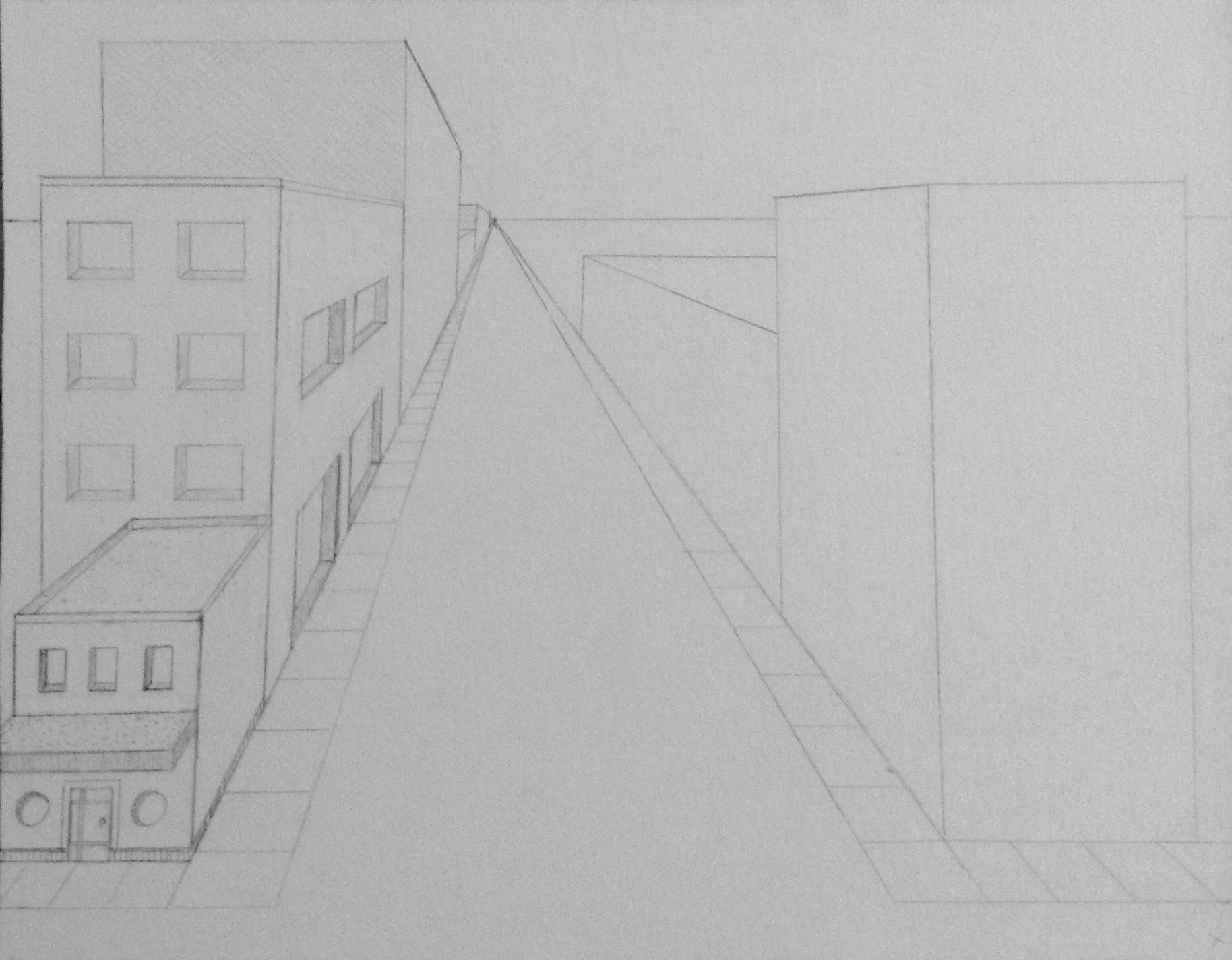 how to draw a cityscape in 2 point perspective