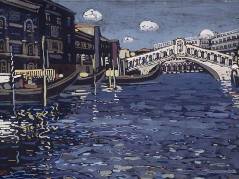 Vassily Kandinsky, Venise n°4 (Venezia n. 4), 1903 circa. Tempera su cartone, cm 40,5 x 56 cm.
