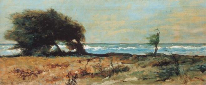 Giovanni fattori, Libecciata, 1880-1890, olio su tavola, dim. cm 28,4 x 78, Firenze, Galleria Nazionale Arte Moderna