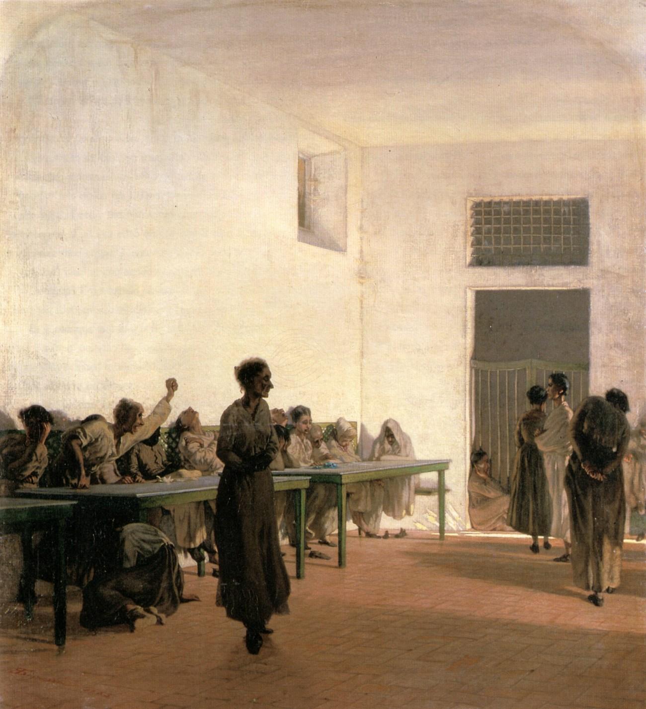 Telemaco Signorini, La sala delle agitate al San Bonifazio di Firenze, 1865, olion su tela cm 66x59, Venezia, Moderna