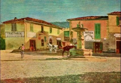 Telemaco Signorini, Piazza a Settignano, simile, 1880 forse, olio su tavola, dim. cm 32,8x53,1 Milano, Privata
