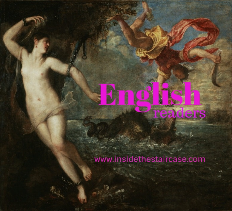 Banner Perseo and andromeda with a pink writing English Readers insidethestaircase.com ( original by Titian)