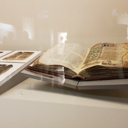 Ancient books behind a glass from Carlo Magno va alla guerra (Turin, March 28th) insidethestaircase