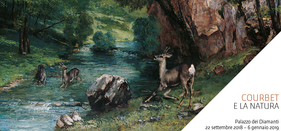 Banner of the exibition Courbet e la natura -from september 22nd 2018 to 6th Jan 2019 in Ferrara at Palazzo dei Diamanti
