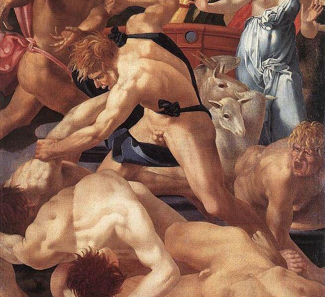 Rosso Fiorentino, Mosé difende le figlie di Jetro, 1523-1524,