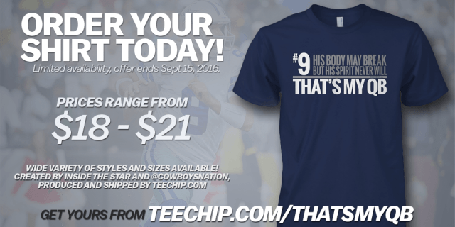 "Order your ""That's My QB"" t-shirt today, from TeeChip and Inside The Star"