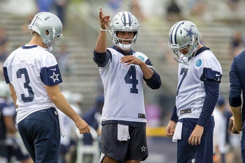 Dallas Cowboys QBs Dak Prescott, Cooper Rush, and Mike White