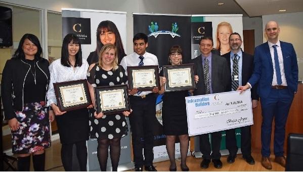 Conestoga Health Information Challenge winners 2018: Vivian Trinh, Roselyn Bevis, Ritam Panchal and Jaimie Short, with IB's Tara Myshrall far left, and Conestoga prof Justin St. Maurice, far right