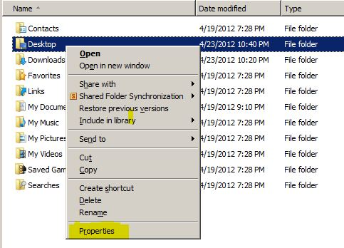 dekstop folder properties