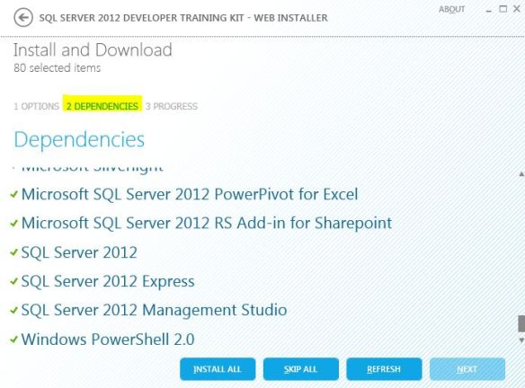 sql server training kit 2012 check dependencies