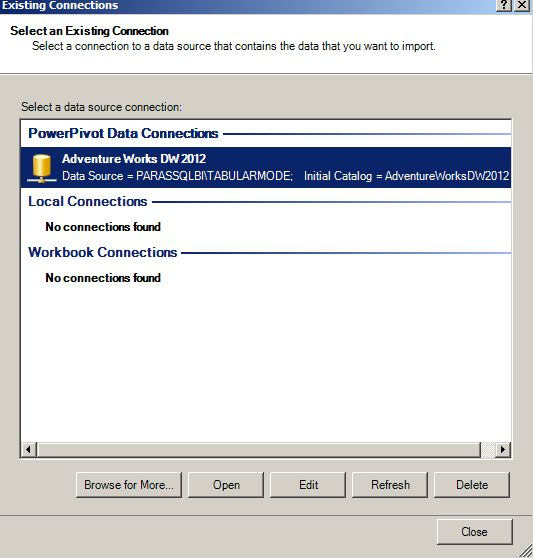 powerpivot select a connection to a data source that contains the data you want to import