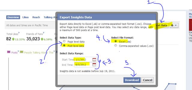 social media analytics download facebook page insights data