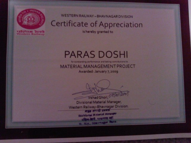Paras Doshi Internship Database Design Certificate