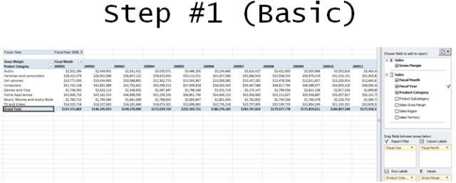 Excel Pivot Table SSAS Step 1