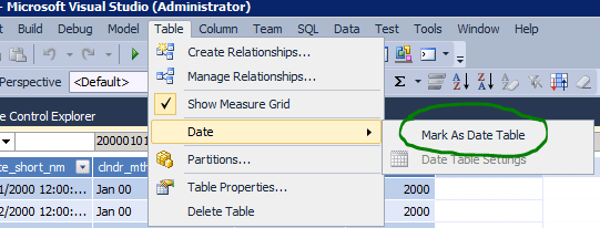 SSAS Tabular mark as date table