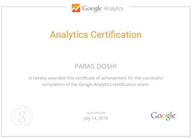 Google Analytics Certification Exam