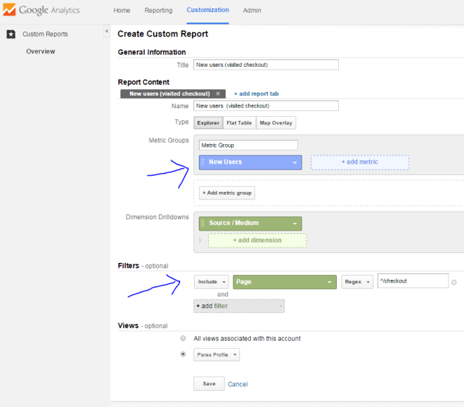 New users by specific pages funnel visualization google analytics