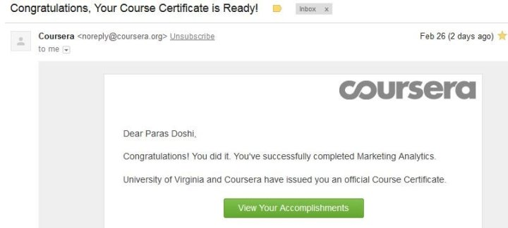 Coursera Marketing Analytics Certificate