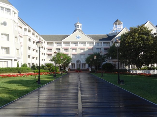 A wooden walkway and nautically inspired architecture make Disney's Beach Club one of the Best Walt Disney World Hotels