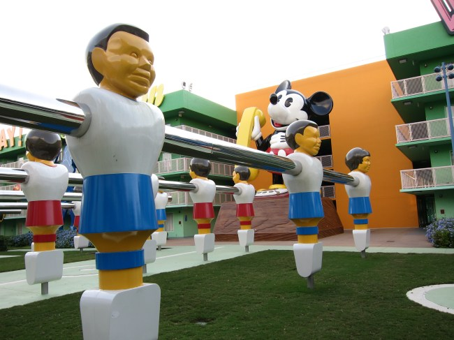 Giant foosball table and Mickey Mouse phone structures at Pop Century Resort, one of the Best Walt Disney World Hotels