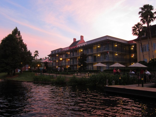 Sunset view of Port Orleans French Quarter, one of the Best Walt Disney World Hotels