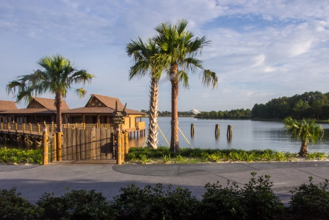 View overlooking Bay Lake towards the bungalows and Magic Kingdom from rooms at the Polynesian Village Resort, one of the Best Walt Disney World hotels