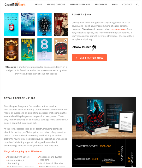 Cover designer pricing packages