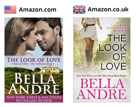 Bella Andre's cover designs in the US and UK