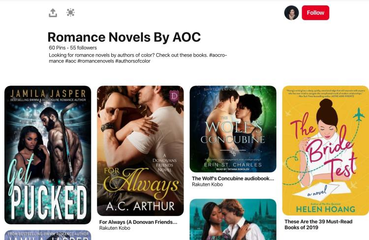 Moni Boyce pinterest board featuring romance authors of color