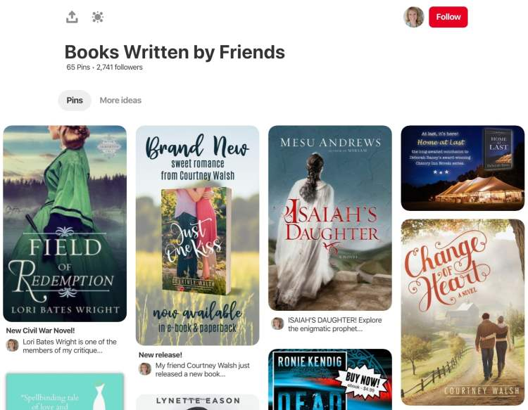Author pinterest for Becky Wade recommending books