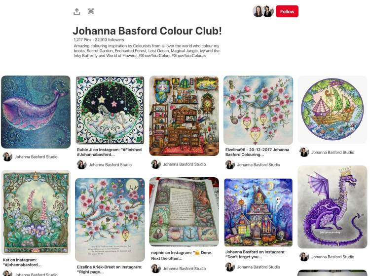 Johanna Basford coloring books pinterest board