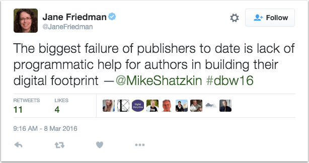 Jane Friedman Tweet