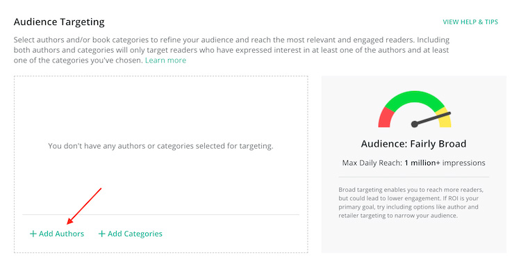 audience targeting add author