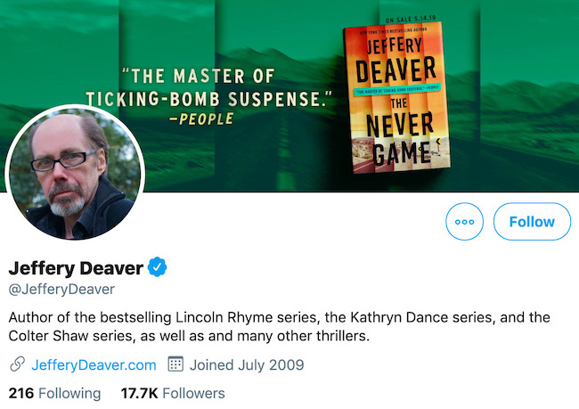 Jeffery Deaver Twitter Header