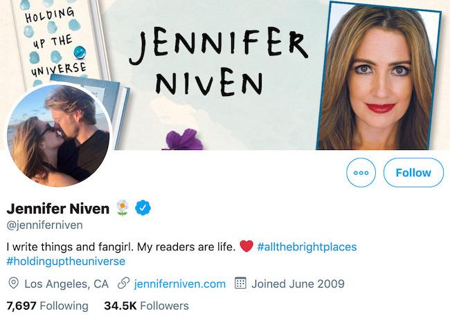 Jennifer Niven Twitter Header