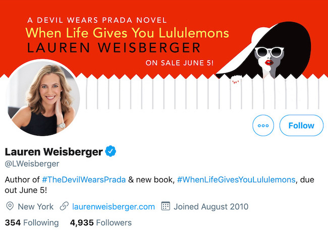 Lauren Weisberger Twitter Header