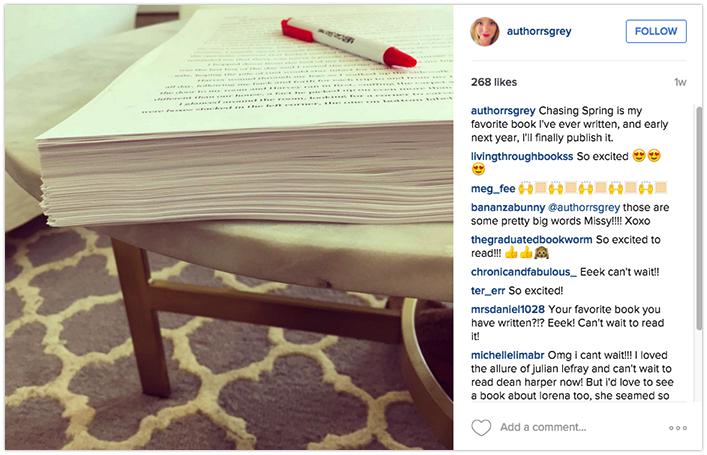 Show book manuscript on social media