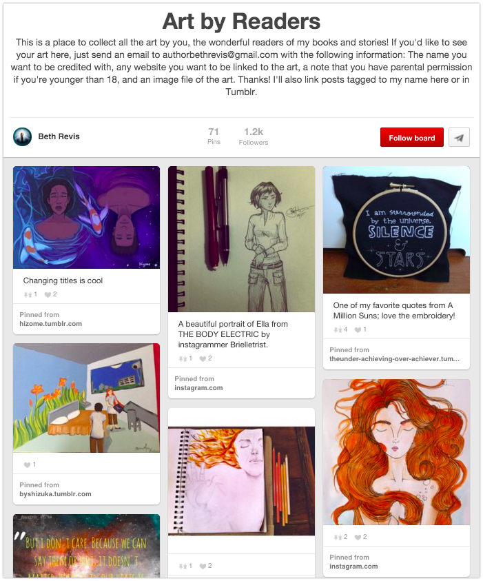 Create a Pinterest board of fan art