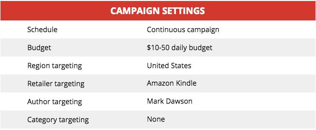 Mark Dawson Campaign Settings for Ad #1