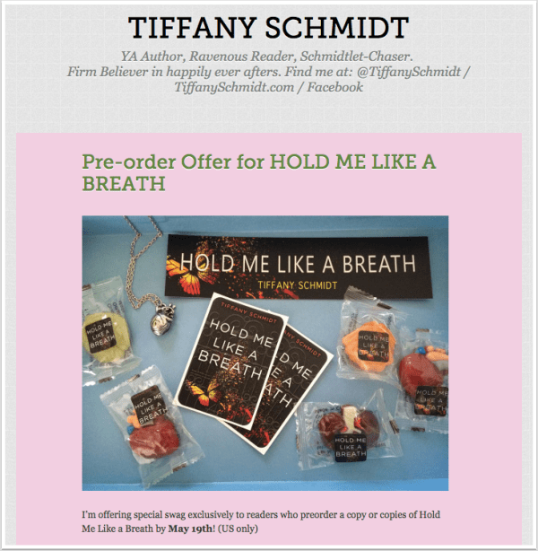 Preorder swag pack from Tiffany Schmidt