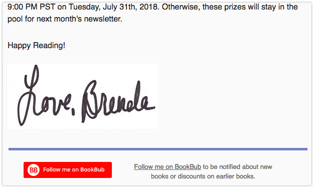 Brenda Novak's newsletter with a BookBub follow button
