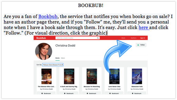 Christina Dodd's newsletter with a BookBub CTA
